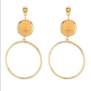 Gold-tone metal orbital drop earrings